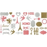 Making Memories - Je t'Adore Collection - Valentine - Glitter Shapes
