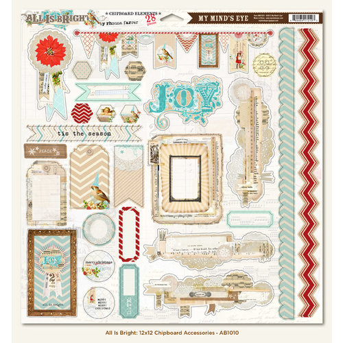 My Mind's Eye - All Is Bright Collection - Christmas - 12 x 12 Chipboard Stickers - Elements