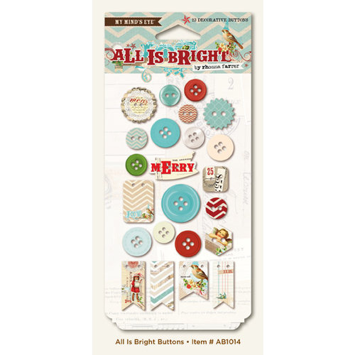 My Mind's Eye - All Is Bright Collection - Christmas - Decorative Buttons