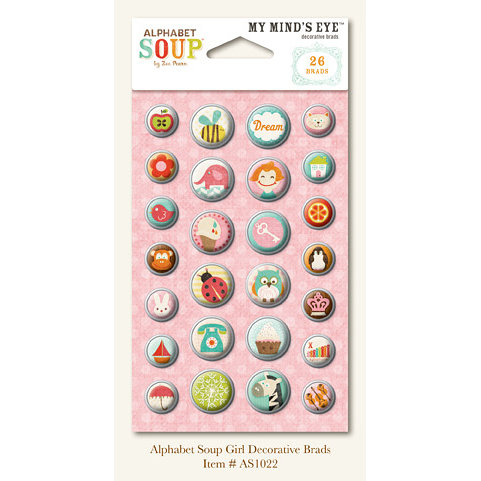 My Mind's Eye - Alphabet Soup Collection - Decorative Brads - Girl, CLEARANCE