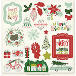 My Mind's Eye - Cozy Christmas Collection - 12 x 12 Chipboard Stickers - Elements