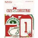 My Mind's Eye - Cozy Christmas Collection - Advent Tags with Red Glitter Accents