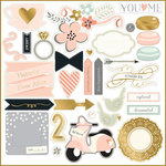 My Mind's Eye - Fancy That Collection - Blush - 12 x 12 Chipboard Stickers with Foil Accents - Elements