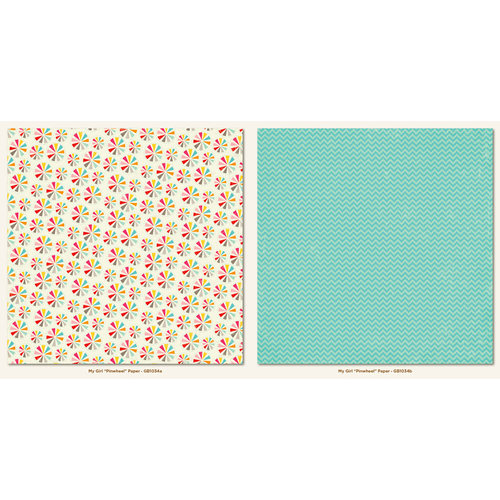 My Mind's Eye - My Girl Collection - 12 x 12 Double Sided Paper - Pinwheel