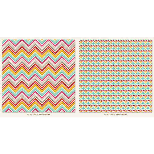 My Mind's Eye - My Girl Collection - 12 x 12 Double Sided Paper - Chevron