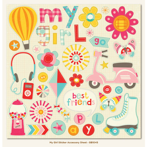 My Mind's Eye - My Girl Collection - 12 x 12 Cardstock Stickers