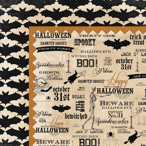 My Mind's Eye - Happy Haunting Collection - Halloween - 12 x 12 Double Sided Paper - Word Art
