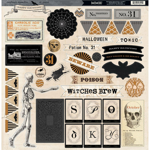 My Mind's Eye - Happy Haunting Collection - Halloween - 12 x 12 Chipboard Stickers