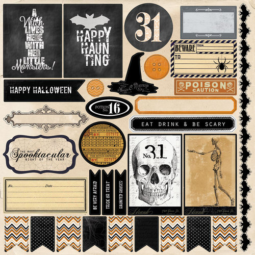 My Mind's Eye - Happy Haunting Collection - Halloween - 12 x 12 Cardstock Stickers