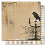 My Mind's Eye - Haunted Collection - Halloween - 12 x 12 Double Sided Flocked Kraft Paper - Raven, CLEARANCE