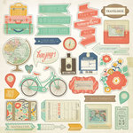 My Mind's Eye - Hello World Collection - Adventure - 12 x 12 Chipboard Stickers - Elements