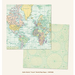 My Mind's Eye - Hello World Collection - Travel - 12 x 12 Double Sided Paper - World Map