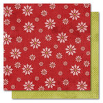 My Mind's Eye - I Believe Collection - Christmas - 12 x 12 Double Sided Glitter Paper - Poinsettia, CLEARANCE