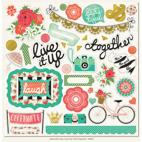 My Mind's Eye - Jubilee Collection - Mint Julep - 12 x 12 Chipboard Stickers - Elements - Live It Up