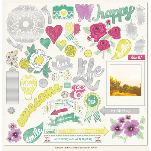 My Mind's Eye - Jubilee Collection - Sherbet - 12 x 12 Chipboard Stickers - Elements - Peace