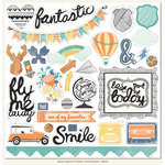 My Mind's Eye - Jubilee Collection - Tangerine - 12 x 12 Chipboard Stickers - Elements - Fantastic