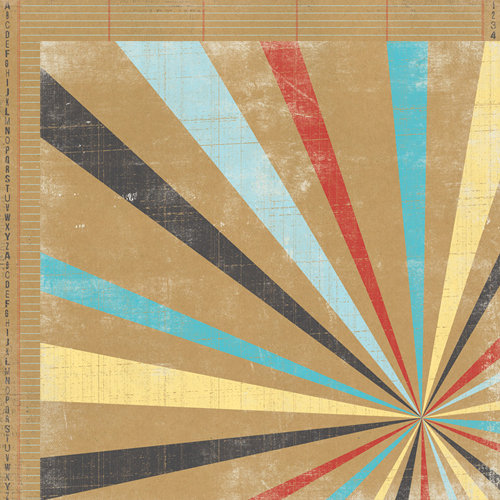 My Mind's Eye - Kraft Funday Collection - Happy Days - 12 x 12 Double Sided Kraft Paper - Ferris Wheel