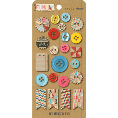 My Mind's Eye - Kraft Funday Collection - Happy Days - Buttons
