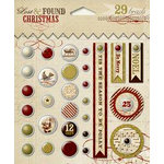 My Mind's Eye - Lost and Found Collection - Christmas - Decorative Brads with Glitter Accents