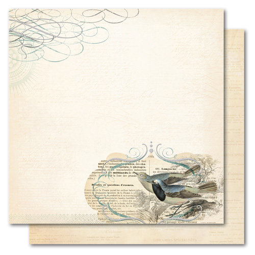 My Mind's Eye - Portobello Road Collection - 12 x 12 Double Sided Glitter Paper - You and Me Love Birds, CLEARANCE