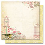 My Mind's Eye - Market Street Collection - 12 x 12 Double Sided Glitter Paper - Adore Fly Away, CLEARANCE