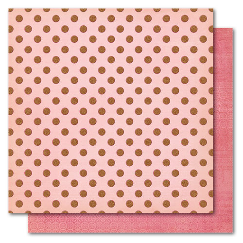 My Mind's Eye - Madison Avenue Collection - 12 x 12 Double Sided Glitter Paper - Pretty Polka, CLEARANCE