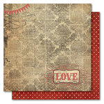 My Mind's Eye - Union Square Collection - 12 x 12 Double Sided Glitter Paper - Home Sweet Home Love, CLEARANCE