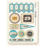 My Mind's Eye - Lost and Found 2 Collection - Breeze - 3 Dimensional Chipboard Stickers with Glitter Accents - Boyish