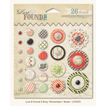 My Mind's Eye - Lost and Found 2 Collection - Rosy - Decorative Brads with Glitter Accents - Remember