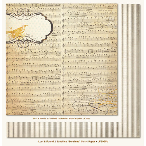 My Mind's Eye - Lost and Found 2 Collection - Sunshine - 12 x 12 Double Sided Paper - Sunshine Music