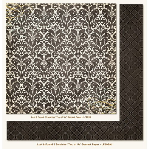 My Mind's Eye - Lost and Found 2 Collection - Sunshine - 12 x 12 Double Sided Paper - Two of Us Damask
