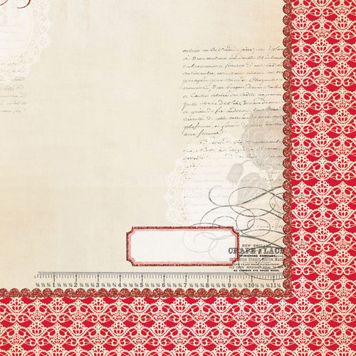 My Mind's Eye - Lost and Found 3 Collection - Ruby - 12 x 12 Double Sided Glitter Paper - Floral and Lace