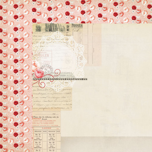My Mind's Eye - Lost and Found 3 Collection - Ruby - 12 x 12 Double Sided Paper - Pink Lace