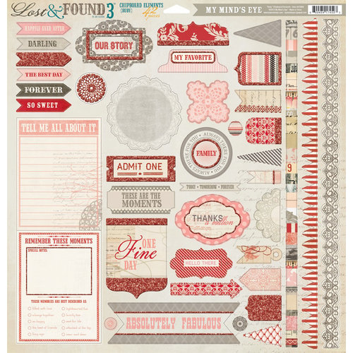 My Mind's Eye - Lost and Found 3 Collection - Ruby - 12 x 12 Chipboard Stickers - Elements