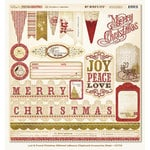 My Mind's Eye - Lost and Found Collection - Christmas - 12 x 12 Glittered Chipboard Stickers - Elements