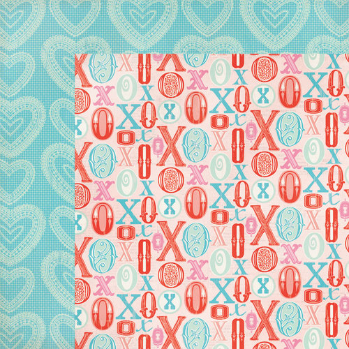 My Mind's Eye - Lucky in Love Collection - 12 x 12 Double Sided Paper - Hugs and Kisses