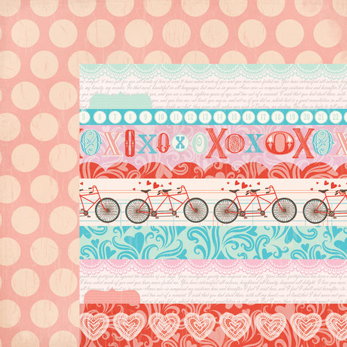 My Mind's Eye - Lucky in Love Collection - 12 x 12 Double Sided Paper - Multi Stripe
