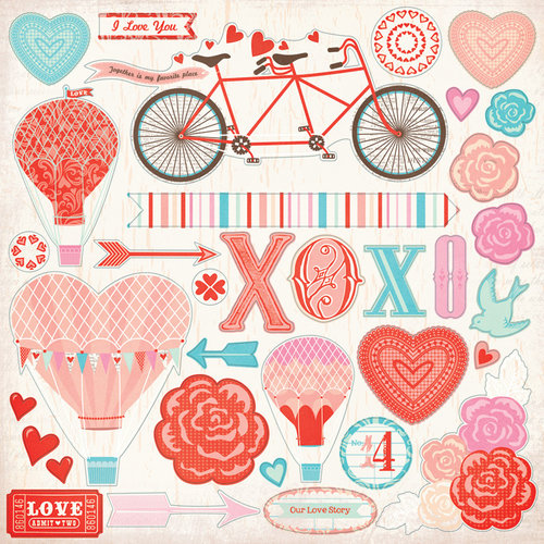 My Mind's Eye - Lucky in Love Collection - 12 x 2 Cardstock Stickers