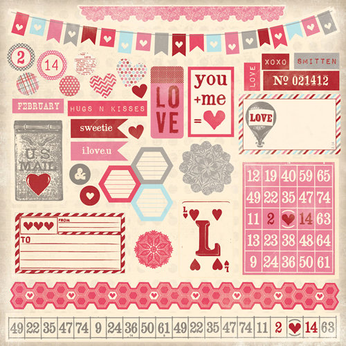My Mind's Eye - Love Me Collection - 12 x 12 Die Cut Paper - Love Me