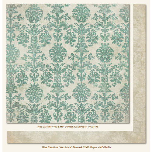 My Mind's Eye - Miss Caroline Collection - Fiddlesticks - 12 x 12 Double Sided Paper - You and Me Damask