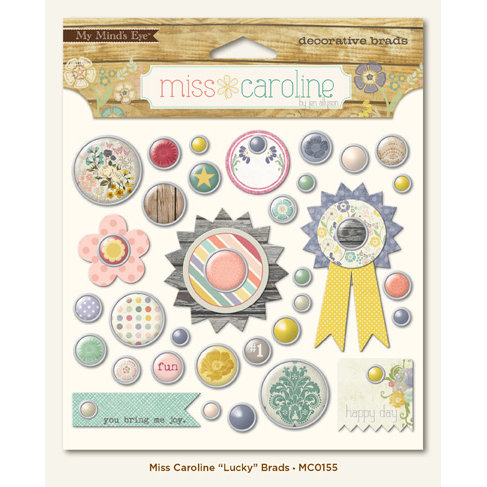 My Mind's Eye - Miss Caroline Collection - Fiddlesticks - Brads - Lucky