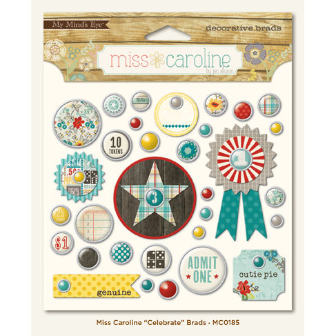 My Mind's Eye - Miss Caroline Collection - Dilly Dally - Brads - Celebrate