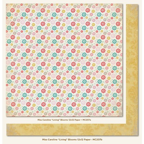 My Mind's Eye - Miss Caroline Collection - Dolled Up - 12 x 12 Double Sided Paper - Living Blooms