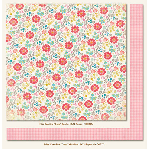 My Mind's Eye - Miss Caroline Collection - Dolled Up - 12 x 12 Double Sided Paper - Cute Garden