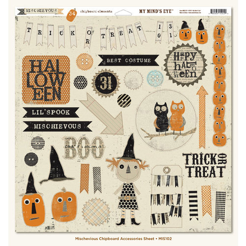 My Mind's Eye - Mischievous Collection - Halloween - 12 x 12 Chipboard Stickers - Elements
