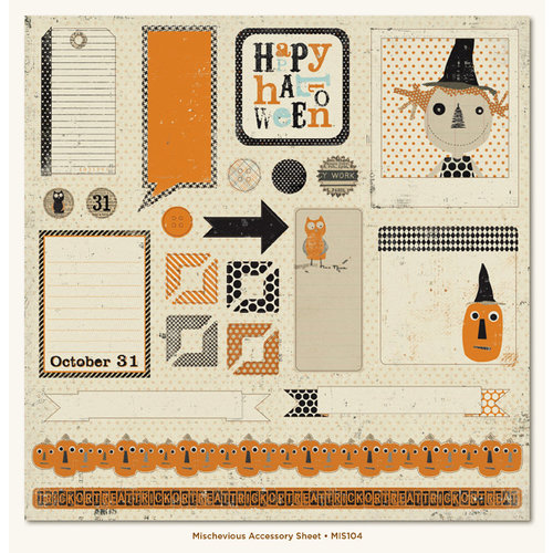 My Mind's Eye - Mischievous Collection - Halloween - 12 x 12 Die Cut Paper - Mischievous