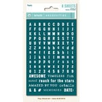 My Mind's Eye - Necessities Collection - Teals - Cardstock Stickers - Tiny Alphabets and Words