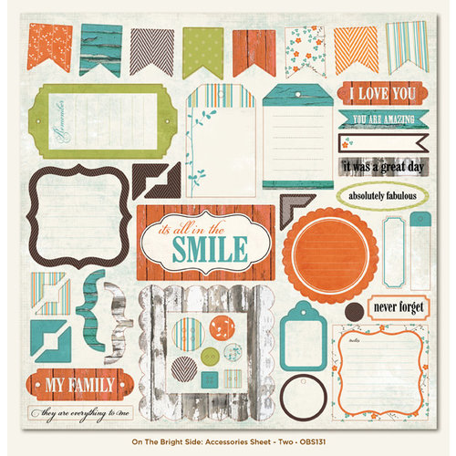 My Mind's Eye - On The Bright Side Collection - Two - 12 x 12 Die Cut Paper