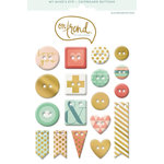 My Mind's Eye - On Trend Collection - Sweet - Chipboard Buttons with Foil Accents
