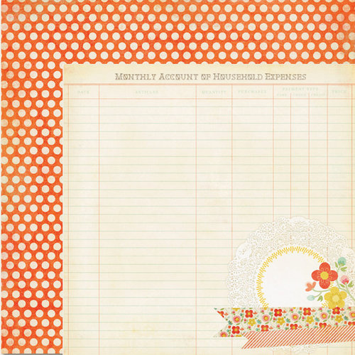 My Mind's Eye - The Sweetest Thing Collection - Tangerine - 12 x 12 Double Sided Paper - Sunshine Beam